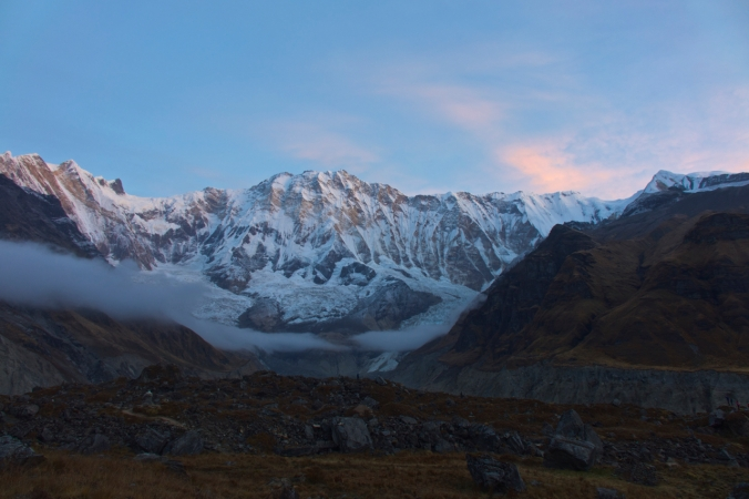 Morning view of Annapurna I from ABC