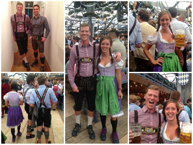 The lederhosen and dirndls