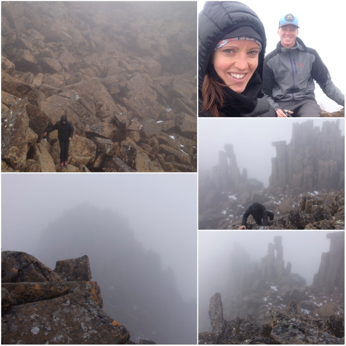The lower left photo shows the actual summit