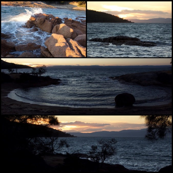 Sunset at Honeymoon Bay, windy and a bit cool